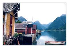 Old Trade Community (YIP2) Tags: fjaerland landscape water boat fjærlandsfjorden norway fjord sognogfjordane mountains naust norge red yellow fjærland