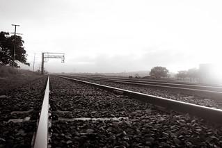 Train Track Foggy Morning
