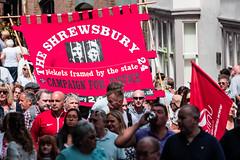 Marching through Durham (Cerdic Elesing) Tags: groupofpeople banner countydurham crowd durham durhamminersassociation england gala justice kodakektar marching minersgala object protest red shrewsbury shropshire xequals unitedkingdom