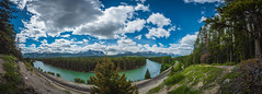 Railway bend in Banff National Park (tibchris) Tags: banff banffnationalpark railway bend panorama landscape clouds forest river tourquoise canada nationalpark