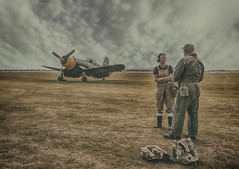Airfield (brian_stoddart) Tags: aircraft airshow nostalgia vintage people clouds sky tone costume atmospheric