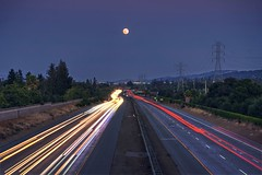 I feel the moon rise inside my head (PeterThoeny) Tags: sanjose campbell california siliconvalley freeway highway outdoor night moon moonrise dusk clear light lighttrail motion motionblur longexposure 1xp sel55210 nex6 raw photomatix hdr qualityhdr qualityhdrphotography fav200