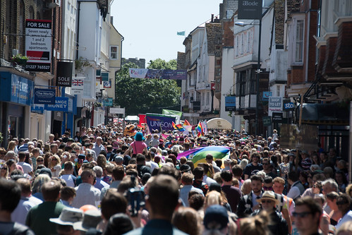 Huge crowd going through Canterbury High Street