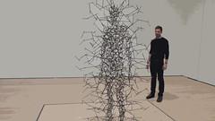 "A14993 / man relates to art: antony gormley's ""quantum cloud xv"" at sfmoma (janeland) Tags: sanfrancisco california 94103 sfmoma sanfranciscomuseumofmodernart britishsculptor antonygormley quantumcloudviii sculpture cutout september 2016 human"
