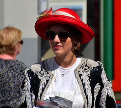 Black and Red (Owen J Fitzpatrick) Tags: ojf people photography nikon fitzpatrick owen j wool pretty pavement chasing d3100 ireland editorial use only ojfitzpatrick eire dublin republic city tamron candid joe candidphotography candidphoto unposed natural attractive beauty beautiful woman female lady red hat necklace shades sunglasses jacket dalkey book festival 2017 june castle