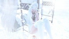 "Hide Emotions (Mistic Aura ""Nevrose"") Tags: sl second life avatar mesh girl bento mask socks white winter sad tattoo"
