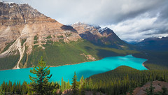 Peyto Lake (1ns0mn1ac) Tags: morning water peytolake labcolorspace shadow torquise cloud icefieldsparkway rockiestrip sky canada photoshop banffnationalpark canadianrockies mountain