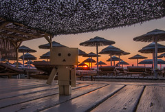 Danbo at sunset (Vagelis Pikoulas) Tags: sun sunset sunburst view landscape sea seascape beach canon 6d tokina 1628mm danbo summer 2017 july toy alykes drosias drosia sabbia bar umbrellas evoia