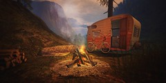 The Happy Camper (Kacey Macbeths) Tags: camping secondlife camper woods campfire landscape mountains