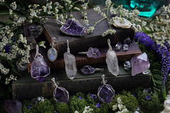 Wire Wrapped Gemstone Pendants (Sedna 90377) Tags: gemstones crystals minerals wire wrapped wirework wirewrapped wirewrap pendant amethyst rainbow moonstone