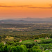Panoramic view of Bela krajina at sunset