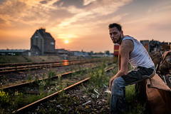 After a long hard working Day .. (Mdarkbyte) Tags: male men mann hafen sonnenuntergang harbour neuss hard work dirt dreck schmutz metall pause arbeit schienen hafenbecken schrottplatz schrott deutschland germany unterhemd nikon d750 35mm ambientlight ambient light natural only 2017 juli july sommer summer sun sonne stavros mmmomentaufnahme europa outdoor drausen mood sunset