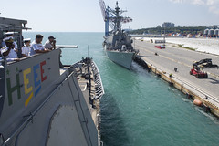 USS Hue City arrives pierside in Odessa, Ukraine, during exercise Sea Breeze 2017.
