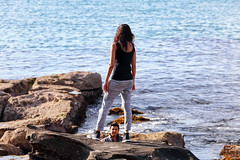 It's all in the angle (geemuses) Tags: manlybeach fairybower shellybeach manly nsw australia landscape sea ocean water rocks path pathway photo photograph woman man scenic scenery waves sun reflection contrast color colour candid street