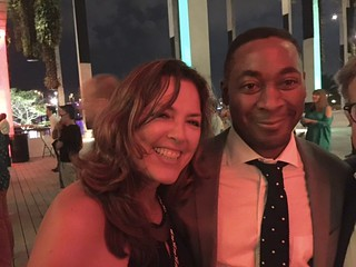 """PAMM museum director Franklin Sirmans with his Spanish professor Liliana Zambrano at the VIP opening of  """"On the Horizon"""" Jorge Perez Collection of Cuban art"""