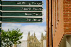 Which way now? (DWTait) Tags: signpost shoppingcentre flemingate minster beverley blur green college railwaystation towncentre busstation explore