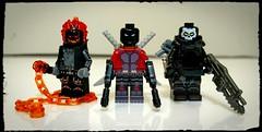 Three's Company (KreePverse) (Korpsical666) Tags: ghost rider deadpool punisher lego minifigure custom marvel superhero