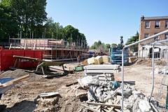 P1000418 (smith.rodney74) Tags: ridgeons scaffolding rubble rollonskip bluesky greenery concreteblocks shuttering highvizjacket hardhat