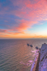 The Needles at Twilight (Simon Downham) Tags: blue hour bluehour golden sun sunset pink sky big needles isleofwight horizon pretty colourful sea dsc8761 aqua wine england scape seascape land landscape english channel unitedkingdom gb midsummer twilight battery old new rock cliff rocks chalk water summer red