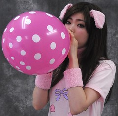 Nice Use For Pink Pig Lungs. (emotiroi auranaut) Tags: girl woman lady cute attractive adorable pig ears model female feminine femininity beauty beautiful charm charming effort trying air pink white polka dots toy balloon fun breathe breathing concentrate concentration people amusement blow blowing swell expand expanding squeak play playing playful mischief mischievous bigger grow growing fascinated fascinating fascinate huff puff huffing puffing big large larger risk pop sweet sweetness gorgeous