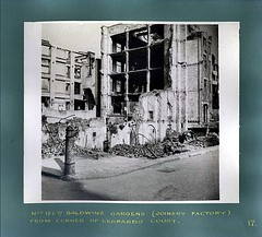 17.  Bomb damage to No's 15 and 17 Baldwin's Gardens (Joinery Factory) From Corner of Leopard's Court. (North West Kent Family History Society) Tags: verulamstreet baldwin'sgardens baldwin'splaceandleopard'scourt holborn ec1n london wwii 21stjanuary1942 bombingraid buildings photographs joineryfactory graysinnroad 5baldwin'splace 29to34verulamstreet duncanavenue 814veulamstreet 19baldwin'sgardens 1517baldwin'sgardens northwestkentfamilyhistorysociety nwkfhs