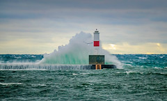 Hit that Break Wall (T P Mann Photography) Tags: break wall wave waves crash splash lighthouse bay sea seascape lake michigan petoskey aqua seagull wildlife bird canon 6d eos sky cloulds storm winds nature rural timing luck spray canonflickraward