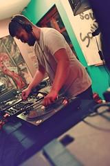 soul steak dj mixer (iamthecandleman) Tags: dance people vibe soul music record vinyl red flash dark lights void basement steak rebecca vasmant dj mixer cammy