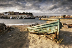 Boat Wreckage, Chania, Crete, Greece (MelvinNicholsonPhotography) Tags: chania creete boat wreck wreckboat seascape harbour greece sunshine sand beach water buildings melvinnicholsonphotography