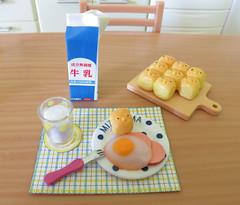 Today's Meal # 1 (MurderWithMirrors) Tags: rement miniature food mwm milk bun egg ham plate fork glass cuttingboard