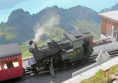 Brienz Rothorn Bahn, Switzerland - No. 6 stands at the Summit on the 13th September 2016 (trained_4_life) Tags: brb switzerland brienzrothornbahn berneroberland berneseoberland steamlocomotive racklocomotive