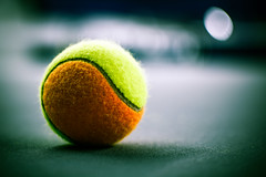 Doubles, anyone? (174/365) (iratebadger) Tags: nikon nikond7100 nikonphotography nikkor england eastridings 35mm f18 focus ball tennis tennisball green yellow orange blue blur bokeh d7100 shadows lightroom light project365 perspective iratebadger