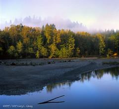 Morning Fog Over the Sandy River (Gary L. Quay) Tags: sandy river powell valley oregon water morning sunrise fog hasselblad 500cm gary quay fuji velvia