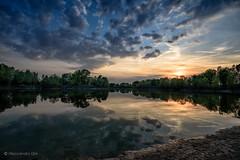 Fiume Po (Olmux82) Tags: po river emilia romagna reggio italia italy clouds sunset reflection nikon d750 water sun summer travel