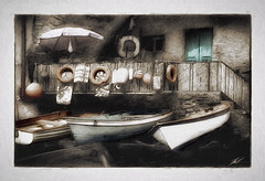 the boathouse II (gol4tom) Tags: smallboats floats umbrella stonehouse riomaggiore cinqueterre italy italianriviera wow trollieexcellence wowl2 wowl3 dockexcellence bestcapturesaoi