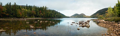 Jordan Pond Pano (scottwyden) Tags: shoreline romantic acadianationalpark mountains beauty panorama recreation nxnw2014 clouds resourcetravel trees 2014 panoramic thebubbles scenic park bubbles cloudy water lake pond beautiful solitude nxnw nature jordanpond summer blue landscape reflection wilderness mountain