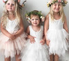 Ball Gown Round Neck Tiered Tulle Flower Girl Dress with Lace (sherrymary68) Tags: flower girl dress white pink tulle tutu cute