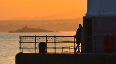 Watching (Edinburgh Photography) Tags: outdoors urban landscape people man silhouette documentary photojournalism newhaven harbour nikon d7000