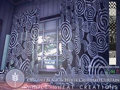 Obscure Black & White Curtain AD (WHOLE WHEAT Landscapes) Tags: whole wheat wholewheat screaming toast screamingtoast tea enchanted teaenchanted second life secondlife sl virtual world public visit taxi landmark curtain obscure black white patterns decor furniture window windows