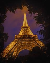 Finely Framed in French Foliage (gimmeocean) Tags: sliderssunday hss eiffeltower paris france vertical vert night