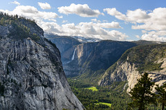 Lower Yosemite Falls and Valley from Panorama Trail (Aleem Yousaf) Tags: yosemite nature landscape united states west coast america national park waterfalls outdoor usa california nikon d800 travel snow panoramatrail hiking trees mountains photography westcoast sky clouds snowcapped
