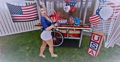 4th Of July Picnic (Sparkle Mocha) Tags: americanflag fourthofjuly fourth 4 july firework sparkler redwhiteblue usa patriotic ooo stuido hairfair2017 rebelhope swallow secondlife avatar holiday catya catwa mesh pigtales pigtails blue white red flag
