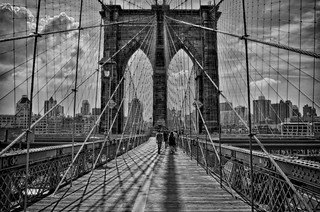 Brooklyn Bridge in backlight