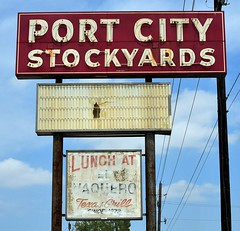 Port City Stockyards - Sealy,Texas (Rob Sneed) Tags: usa texas sealy gulfcoast cattle livestock rural business famous texana americana advertising sign neon vintage portcitystockyards auction iconic austincounty southeasttexas elvaquerotexasgrill independent rust