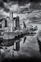 Reflected glory (David Feuerhelm) Tags: monochrome blackandwhite bw nikkor contrast outdoors building house moat reflection sky serene old history historic wideangle infrared ir kentwellhall suffolk england silverefex nikon d90