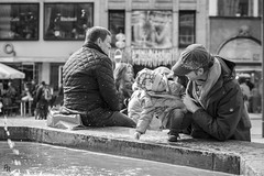 Father and daughter (Andrea Rizzi Esk) Tags: people street black white light germany fountain munich kid square daughter father son photography contrast lovely person munchen bw