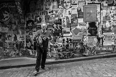 Street Photographer (PJ Resnick) Tags: 2017 pjresnick perryjresnick seattle pjresnickgmailcom pjresnickphotographygmailcom ©2017pjresnick ©pjresnick contrast digital light shadow black highspeediso fujifilm fuji fujinon xf resnick rectangle white filmsimulation fujifilmxpro2 xpro2 fujixpro2 16mm fujinon16mmf14 xf16mmf14 fuji16mm monochrome blackwhite bw monochromatic acrosg concrete wall 4x6 man handbills posters pikeplacemarket pikeplace