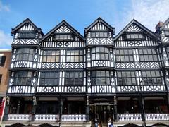 Bridge Street Rows, 2017 Jul 03 (Dunnock_D) Tags: uk unitedkingdom britain chester buildings building blue sky rows bridgestreet street white clouds blackandwhite gb england