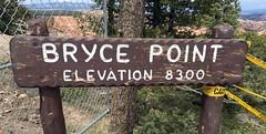 Utah - Bryce Canyon Nation Park - Bryce Point - Elevation Sign (jared422_80) Tags: utah bryce canyon may 2016