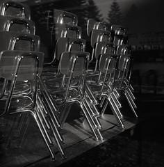 Classroom in Summer, Portland (austin granger) Tags: classroom portland chairs class school stacked pattern chrome sunset reflections window oregon design square film gf670 summer