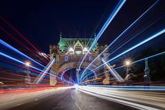 Traffic (derliebewolf) Tags: onthesideoftheroad flickrfriday london travel towerbridge bluehour sunset bridge lights flare traffic road cityscape